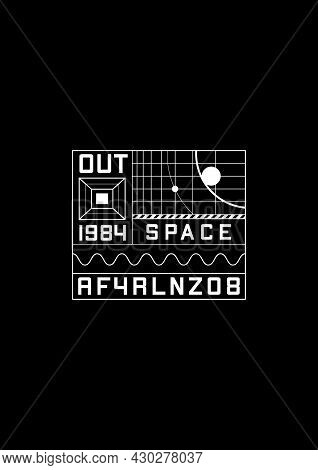 Space 1984 T-shirt And Apparel Design With The 1980s Space Aesthetics Design Elements, Grids With Pl