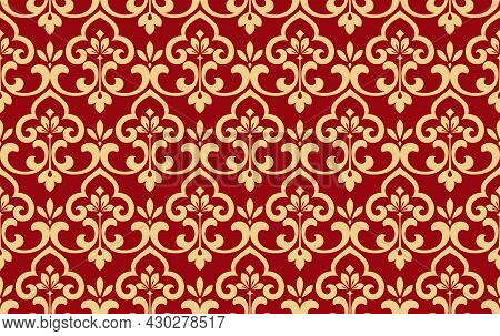 Wallpaper In The Style Of Baroque. Seamless Vector Background. Gold And Red Floral Ornament. Graphic