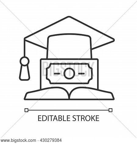 Education Loan Linear Icon. Student Credit. Scholarship For College. Financial Literacy. Thin Line C