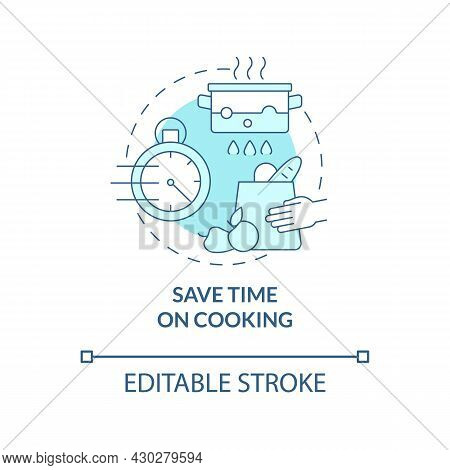 Save Time On Cooking Blue Concept Icon. Spend Less Time On Cooking Abstract Idea Thin Line Illustrat