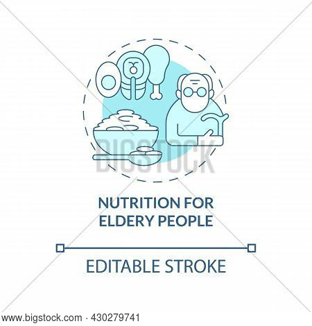 Nutrition For Elderly People Blue Concept Icon. Balanced Diet Abstract Idea Thin Line Illustration.