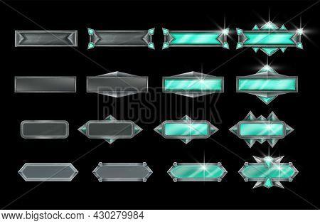 Stone Game Button Vector Illustration Set, Iron Ui Frame Kit, Green Emerald Gemstone Element On Blac