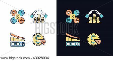 Money Spending Light And Dark Theme Rgb Color Icons Set. Expense Planning. Personal Saving. Financia