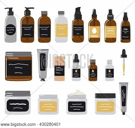 Big Set Of Recyclable Bottles, Jars And Tubes With Organic Cosmetics And Skin Care Products. Set Of