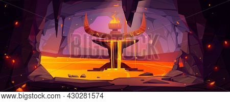 Underground Cave, Entrance To Hell Or Infernal World With Lava, Devil Altar With Stone Horns And Bur