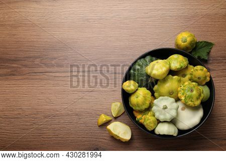 Fresh Ripe Pattypan Squashes On Wooden Table, Flat Lay. Space For Text