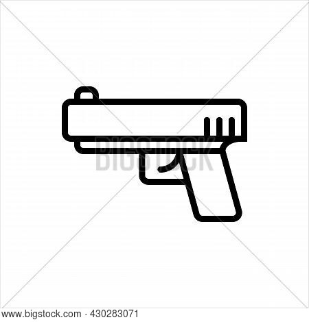 Pixel Perfect Black Thin Line Icon Of Pistol. Editable Stroke Vector 64x64 Pixels. Scale 5000% Previ