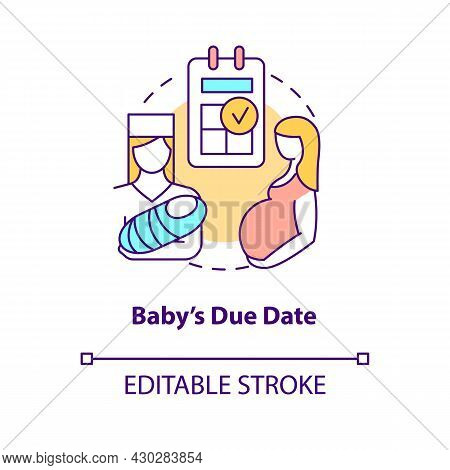 Baby Due Date Concept Icon. Calculate Day Of Labor Abstract Idea Thin Line Illustration. Predict Chi
