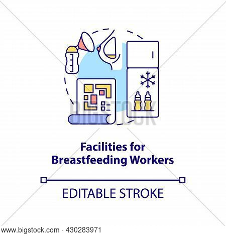 Facilities For Breastfeeding Workers Concept Icon. Express And Pump Breast Milk Abstract Idea Thin L