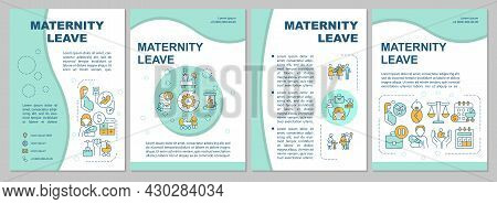 Maternity Leave Blue Brochure Template. Flyer, Booklet, Leaflet Print, Cover Design With Linear Icon