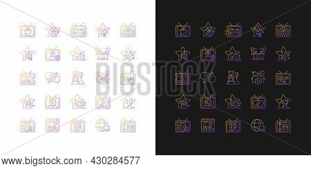 Tv Show Gradient Icons Set For Dark And Light Mode. Television Entertainment. Media Fun Series. Thin