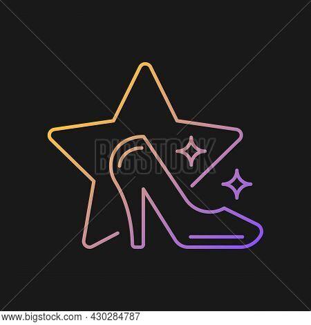 Fashion Show Gradient Vector Icon For Dark Theme. Runway Model Program Broadcasting. Television Ente