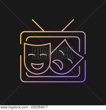 Tv Drama Gradient Vector Icon For Dark Theme. Theatrical Performance Translation On Display. Comedy