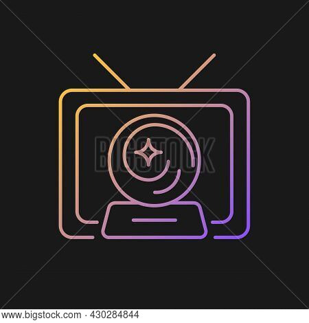 Mystic Show Gradient Vector Icon For Dark Theme. Mystery Series On Television Channel. Fiction Movie