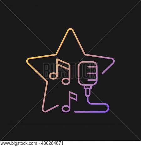 Open Microphone Shows Gradient Vector Icon For Dark Theme. Stand Up Comedy. Music Competition. Karao