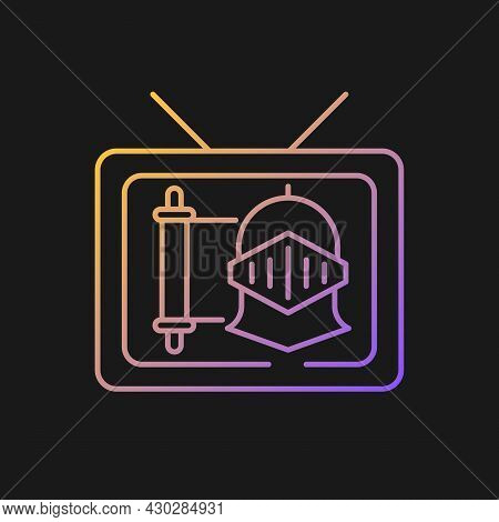 Historical Show Gradient Vector Icon For Dark Theme. Period Drama Tv Series. Streaming Service. Watc