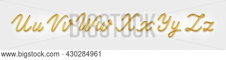 Gold 3d Realistic Capital And Lowercase Letters On A Light Background.