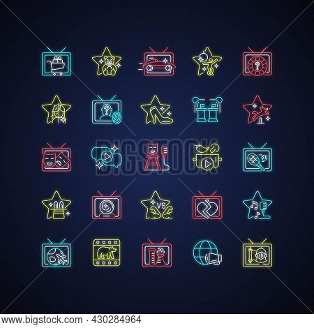 Tv Show Neon Light Icons Set. Television Entertainment. Media Fun Series. Reality Shows And Document