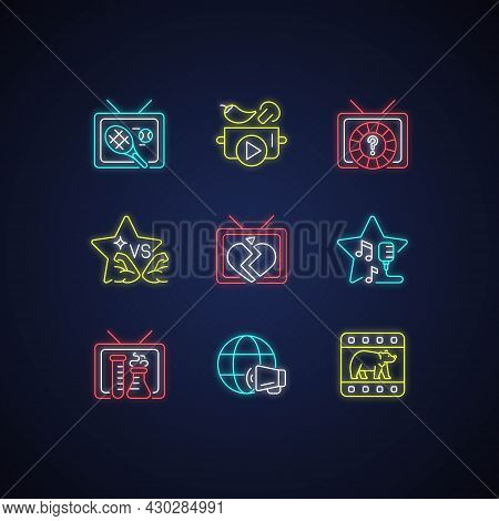 Tv Neon Light Icons Set. Wildlife Documentary. Cookery Show. Tennis Competition. Sports Reality Prog