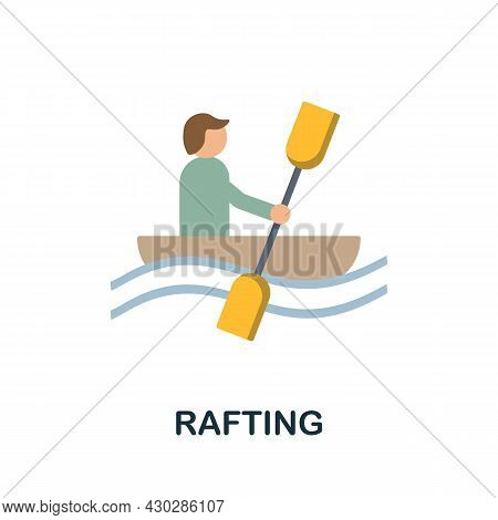 Rafting Flat Icon. Colored Sign From Excursions Collection. Creative Rafting Icon Illustration For W