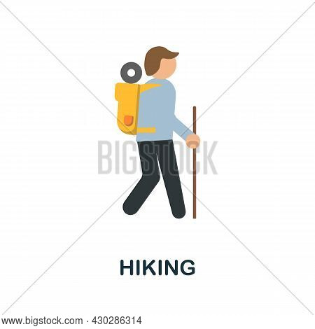 Hiking Flat Icon. Colored Sign From Excursions Collection. Creative Hiking Icon Illustration For Web