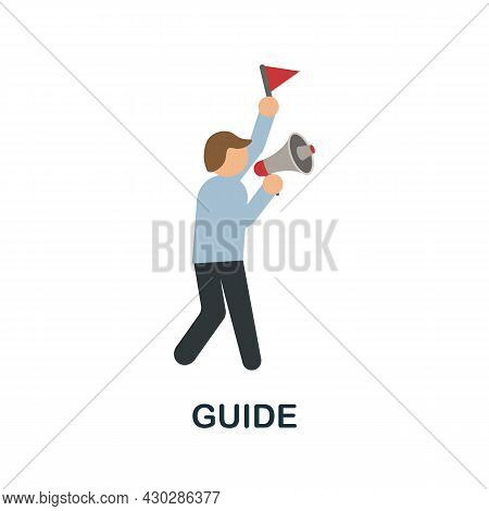 Guide Flat Icon. Colored Sign From Excursions Collection. Creative Guide Icon Illustration For Web D