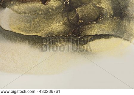 Art Abstract black and gold glow glitter color horizontal watercolor background. Marble texture. Alcohol ink.