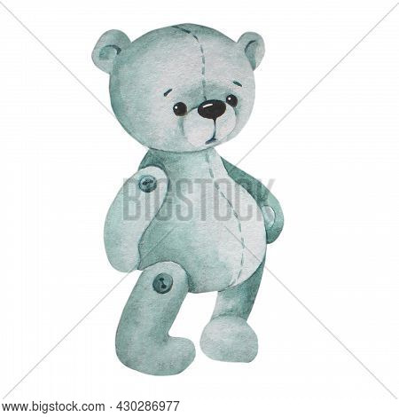 Gray Teddy Bear. There Is A Bear Cub. Watercolor Image.