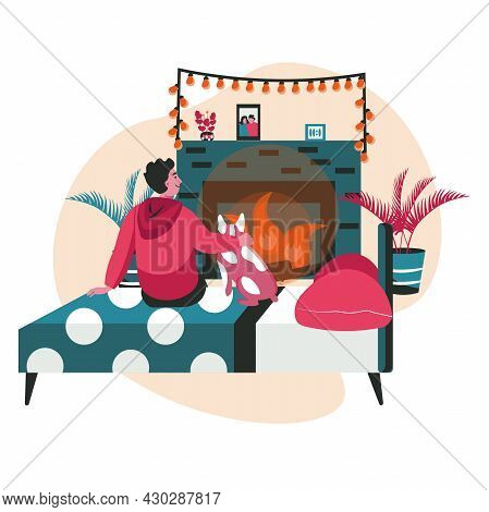 Different People Relaxing In Cozy Bedroom Scene Concept. Man Hugs Dog And Sits On Bed In Front Of Fi