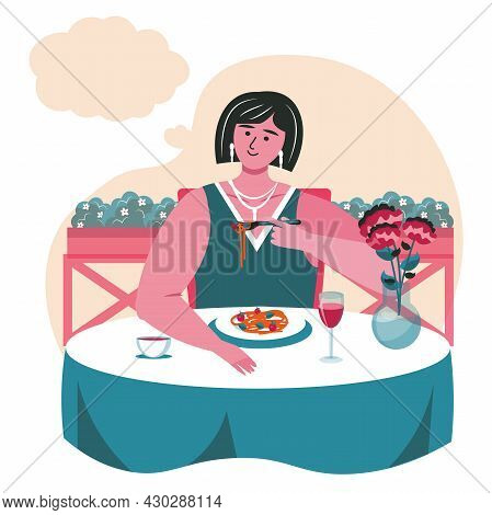 Dreaming People Scene Concept. Woman Dines In Restaurant, Thinks With Empty Bubble Over Head. Imagin