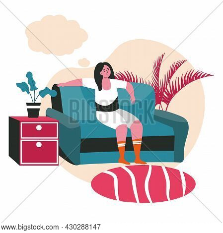 Dreaming People Scene Concept. Woman Sitting On Couch At Home And Thinking With Empty Bubble Over He