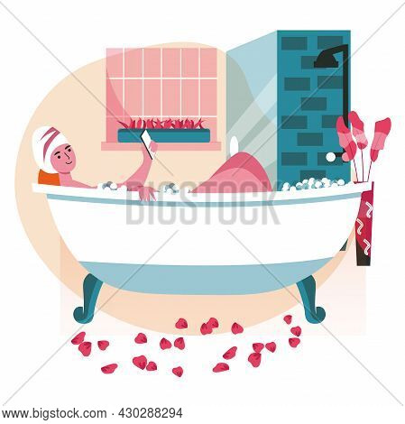 People Use Smartphones In Different Locations Scene Concept. Woman Lying In Bathtub And Browsing Or