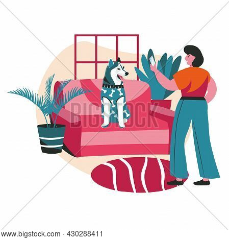Different Situations In The Life Of Pets Scene Concept. Woman Photographs Her Dog In Clothes At Home