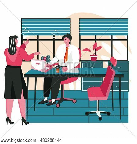 Rudeness In A Business Team Scene Concept. Businesswoman Yells At Colleague. Employees Argue Aggress