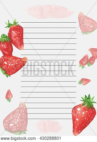 Cookbook Page Template. The Page Is Lined Up. Watercolor Recipe Page With Strawberry Decor. Page For