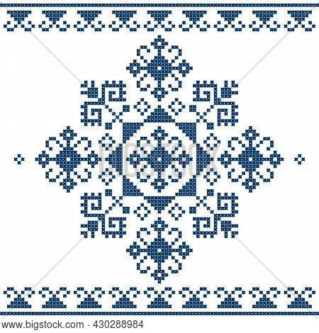 Zmijanje Folk Art Embroidery Style Vector Design  - Traditional Cross Stitch From Bosnia And Herzego