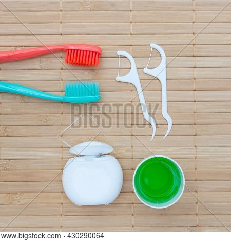 Teeth Hygiene And Oral Dental Care Products. Dental Toothbrushes. Oral Care Kit. Flat Lay. Health Ca