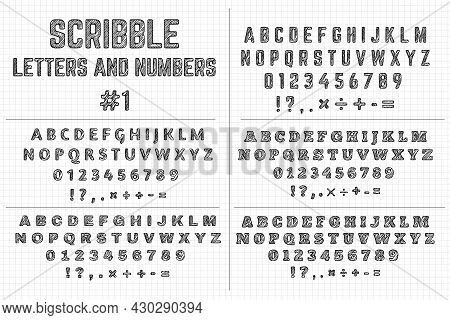 Scribble Letters And Numbers. Five Sets Of Decorative Letters Of Alphabets And Punctuation Marks. St