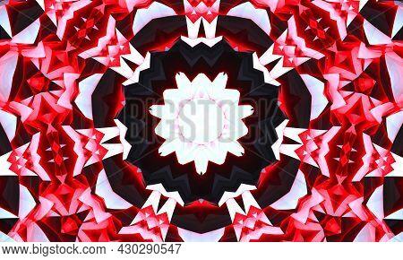 Kaleidoscopic Altered Image Of Garden Flowers Pansies, Dianthus Resembling A Mandala.