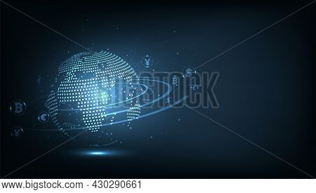 Money Transaction Technology Concept.global Network Connection.money Transfer. Foreign Exchange.paym