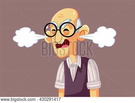Angry Grumpy Senior Man Vector Cartoon Illustration