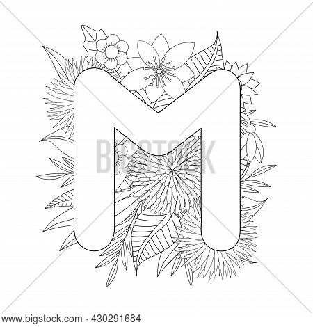 Letter M Coloring Page. Floral Coloring. Vector Illustration.