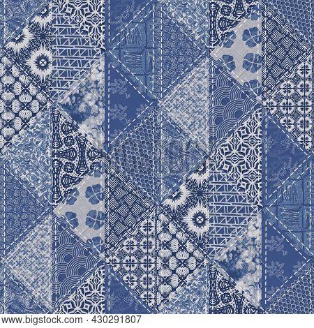Denim Western Blue Patchwork Triangle Woven Texture. Indigo Vintage Wash Printed Cotton Textile Effe