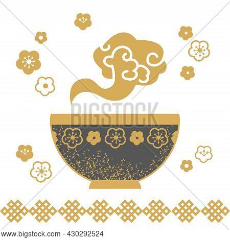 Bowl With Food, Dark Gray With Asian-style Floral Decor. Flat Symbol Of A Plate From Which The Golde