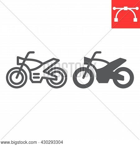 Motorcycle Line And Glyph Icon, Transportation And Vehicle, Motorbike Vector Icon, Vector Graphics,