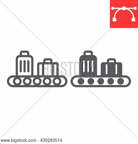 Baggage Claim Line And Glyph Icon, Airport And Luggage, Baggage Claim Vector Icon, Vector Graphics,