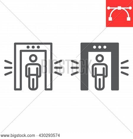 Metal Detector Line And Glyph Icon, Security And Airport, Security Control Vector Icon, Vector Graph