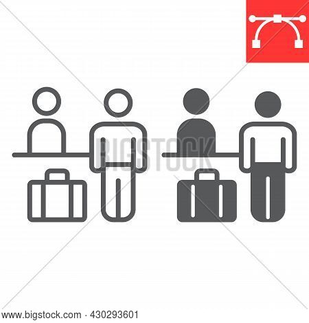 Airport Check In Line And Glyph Icon, Person With Luggage At Registration Desk, Airport Reception Ve