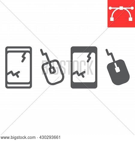 E-waste Line And Glyph Icon, Recycle And Mouse, Electronic Waste Vector Icon, Vector Graphics, Edita