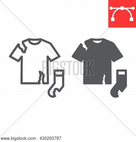 Textile Waste Line And Glyph Icon, Recycle And Torn T-shirt, Torn Sock Vector Icon, Vector Graphics,